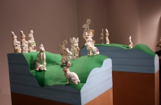 HOPPING HILLS, THE PHARMACEUTICAL LANDSCAPE_______pill bottles melt into the form of Easter Bunnies, wood, foam / 250X 300X 150 cm / 2009