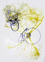 011_____ink blown onto paper with power tool blower