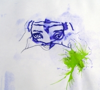 097_____ink blown onto paper with power tool blower
