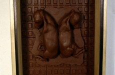 TWO FRIENDS SLEEPING_______fetal goat cast in chocolate / 1990