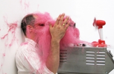 SLAPPED IN THE FACE TILL YOUR SHIT TURNS RED_______performance, cotton candy machine/ 2009 / CAN, Centre d'Art Neuchâtel, Switzerland