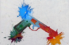 IF HAPPY BLUEBIRDS FLY BEYOND THE RAINBOW WHY OH WHY CAN'T I. Ballistic Paintings Series_______paintball bullets filled with paint media and fired onto the canvas / 30X40 cm / 2014