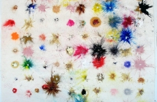 ALLERGY TEST. Ballistic Paintings Series_______paintball bullets filled with paint media and fired onto the paper / 90X90 cm