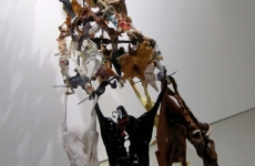 WILD HORSES COULDN'T DRAG ME AWAY_______ 190 x 120 x 130 cm / melted plastic horses, rubber