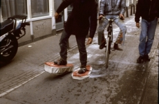 SNOWSHOES_______ an ongoing performance, snowshoes containing white flour are leaving marks while walking in different cities / AMSTERDAM / 1993 —