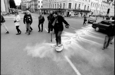 SNOWSHOES_______an ongoing performance, snowshoes containing white flour are leaving marks while walking in different cities / MOSCOW / 1993 —