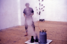 LANDSCAPE WITH INCIDENT_______bronze soled shoes heated to flash point / Oceaan Gallery Arnhem The Netherlands / 1993